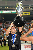 DC United forward Jaime Moreno (99) lifts the Lamar Hunt US. Open Cup Trophy after the victory, DC United defeated The Charleston Battery 2-1, to win the  Lamar Hunt U.S. Open Cup at RFK Stadium in Washington DC, Saturday September 3, 2008.