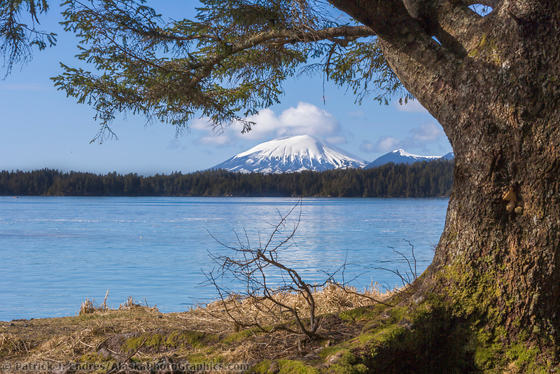 View of Mount Edgecumbe on Kruzof Island across Sitka Sound, Southeast, Alaska.