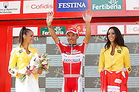 Joaquin Purito Rodriguez with the red jersey of leader after the stage of La Vuelta 2012 between Santiago de Compostela and Ferrol.August 31,2012. (ALTERPHOTOS/Acero)