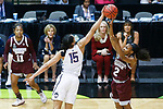 DALLAS, TX - MARCH 31: Morgan William #2 of the Mississippi State Lady Bulldogs has a shot blocked by Gabby Williams #15 of the Connecticut Huskies during the 2017 Women's Final Four at American Airlines Center on March 31, 2017 in Dallas, Texas. (Photo by Tim Nwachukwu/NCAA Photos via Getty Images)