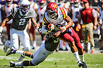TCU Horned Frogs linebacker Sammy Douglas (35) and Iowa State Cyclones wide receiver Allen Lazard (5) in action during the game between Iowa State Cyclones and the TCU Horned Frogs at the Amon G. Carter Stadium in Fort Worth, Texas.