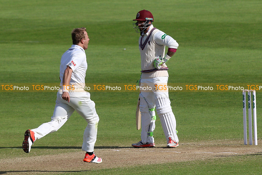 Neil Wagner of Essex celebrates taking the wicket of Peter Trego during Somerset CCC vs Essex CCC, Specsavers County Championship Division 1 Cricket at The Cooper Associates County Ground on 15th April 2017