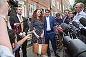 Pic shows: Rebekah Brooks and Charlie Brooks on steps of their home tonight after making statement<br /> She was emotional<br /> <br /> <br /> Pic by Gavin Rodgers/Pixel 8000 Ltd