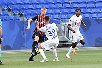 4th July 2020; Lyon, France; French League 1 friendly due to the Covid-19 pandemic forced league ending;  Bruno Guimaraes (lyon) takes on Kasper Dolberg (nice)