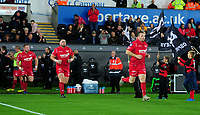 Scarlets' Ken Owens takes to the pitch <br /> <br /> Photographer Ashley Crowden/CameraSport<br /> <br /> Guinness Pro14 Round 6 - Ospreys v Scarlets - Saturday 7th October 2017 - Liberty Stadium - Swansea<br /> <br /> World Copyright &copy; 2017 CameraSport. All rights reserved. 43 Linden Ave. Countesthorpe. Leicester. England. LE8 5PG - Tel: +44 (0) 116 277 4147 - admin@camerasport.com - www.camerasport.com