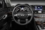 Steering wheel view of a 2012 Infiniti M Hybrid