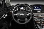 Steering wheel view of a 2012 Infiniti M Hybrid