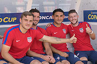 Nashville, TN - Saturday July 08, 2017: Jordan Morris and Chris Pontius and Cristian Roldan, Paul Arriola during a 2017 Gold Cup match between the men's national teams of the United States (USA) and Panama (PAN) at Nissan Stadium.