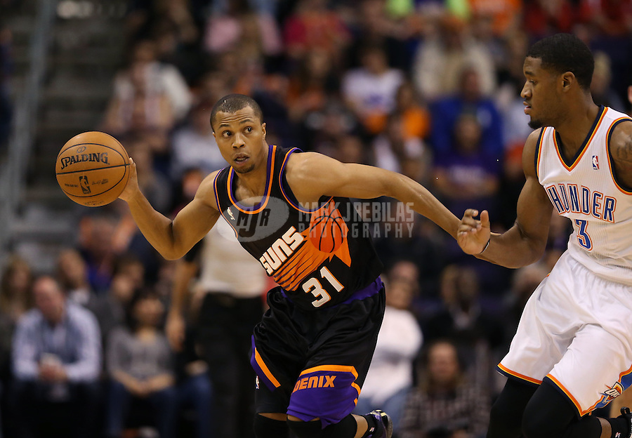 Feb. 10, 2013; Phoenix, AZ, USA: Phoenix Suns point guard Sebastian Telfair against the Oklahoma City Thunder at the US Airways Center. Mandatory Credit: Mark J. Rebilas-