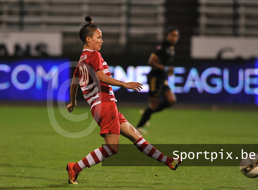 20131018 - ANTWERP , BELGIUM :  Antwerp Riana Nainggolan pictured during the female soccer match between Royal Antwerp FC Ladies and Telstar Vrouwen Ijmuiden , of the Eight' matchday in the BENELEAGUE competition. Friday 18 October 2013. PHOTO DAVID CATRY