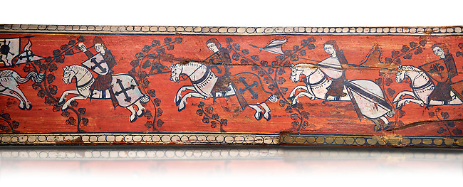 Gothic decorative painted beam panels with gknights on horses, Tempera on wood. National Museum of Catalan Art (MNAC), Barcelona, Spain, Against a white background.