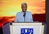 Dr. Cynthia L. Hale, Ray of Hope Christian Church, delivers the invocation at the 2016 Democratic National Convention at the Wells Fargo Center in Philadelphia, Pennsylvania on Monday, July 25, 2016.<br /> Credit: Ron Sachs / CNP<br /> (RESTRICTION: NO New York or New Jersey Newspapers or newspapers within a 75 mile radius of New York City)