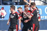 Matt Harrold of Crawley Town (3rd left) celebrates scoring the opening goal against Luton Town during the Sky Bet League 2 match between Luton Town and Crawley Town at Kenilworth Road, Luton, England on 12 March 2016. Photo by David Horn/PRiME Media Images.