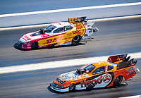 Nov 3, 2019; Las Vegas, NV, USA; NHRA funny car driver Jonnie Lindberg (near) alongside J.R. Todd during the Dodge Nationals at The Strip at Las Vegas Motor Speedway. Mandatory Credit: Mark J. Rebilas-USA TODAY Sports