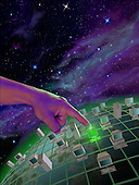 Hand selecting computer on globe