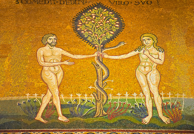 Medieval Byzantine mosaics of Adam & Eve A the Serpant, Monreale Cathedral, Sicily