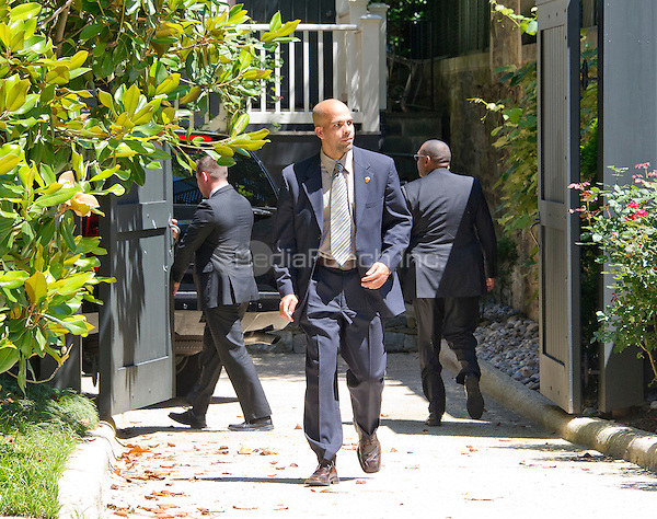 United States Secret Service agents at the Clinton home in Washington, DC on Saturday midday, July 2, 2016 after Chevy Suburban, with perhaps with former United States Secretary of State Hillary Clinton aboard, returns to the Clinton residence.  It is believed the former Secretary was questioned by the FBI today in relation to her personal e-mail server that is the center of controversy.<br /> Credit: Ron Sachs / CNP<br /> (RESTRICTION: NO New York or New Jersey Newspapers or newspapers within a 75 mile radius of New York City)/MediaPunch