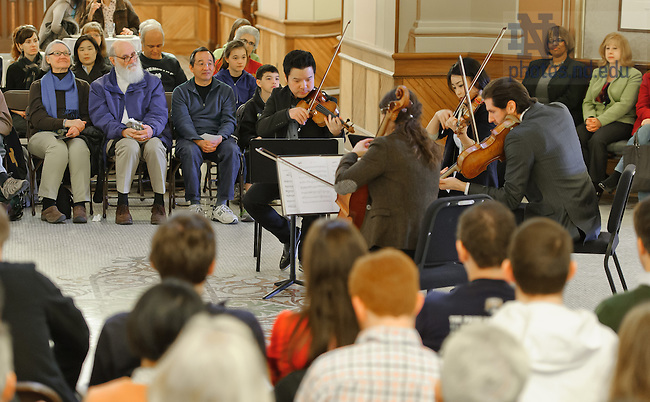 Apr. 5, 2013; The Stradevari Quartet plays in the Main Building rotunda...Photo by Matt Cashore/University of Notre Dame