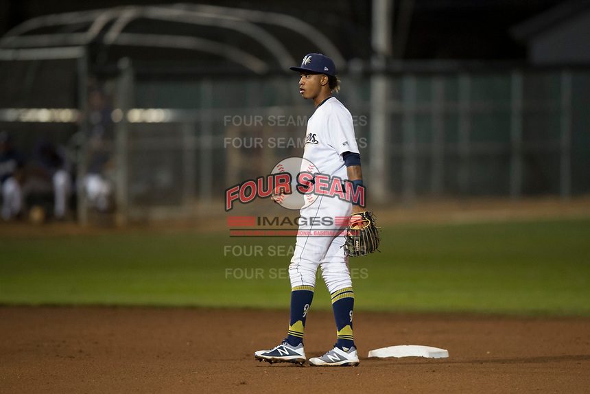 Helena Brewers shortstop Yeison Coca (2) during a Pioneer League game against the Orem Owlz at Kindrick Legion Field on August 21, 2018 in Helena, Montana. The Orem Owlz defeated the Helena Brewers by a score of 6-0. (Zachary Lucy/Four Seam Images)