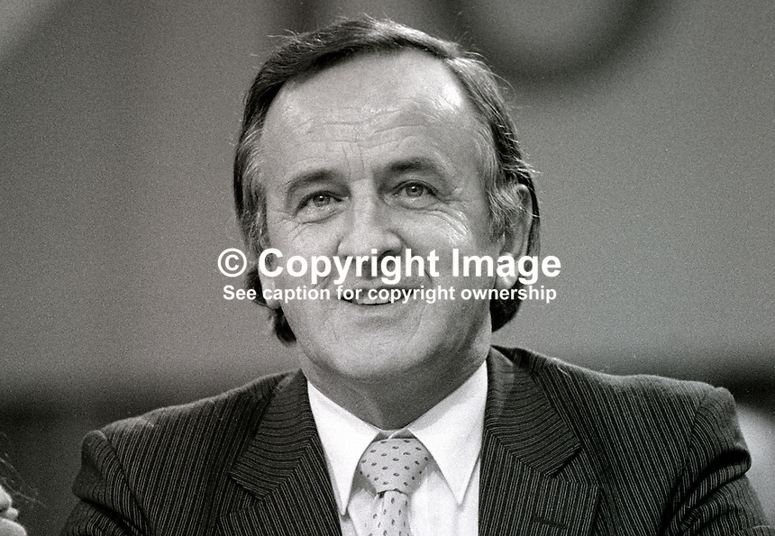 Albert Reynolds, TD, industry spokesman, Fianna Fail, opposition party, Rep of Ireland, photographed at April 1984 Ard Fheis i.e. party conference, 19840048AR2..Copyright Image from Victor Patterson, 54 Dorchester Park, Belfast, UK, BT9 6RJ..Tel: +44 28 9066 1296.Mob: +44 7802 353836.Voicemail +44 20 8816 7153.Skype: victorpattersonbelfast.Email: victorpatterson@me.com.Email: victorpatterson@ireland.com (back-up)..IMPORTANT: If you wish to use this image or any other of my images please go to www.victorpatterson.com and click on the Terms & Conditions. Then contact me by email or phone with the reference number(s) of the image(s) concerned.