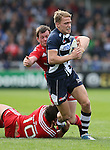 Michael Haley of Sale Sharks tackled by Ian Neatly of Munster - European Rugby Champions Cup - Sale Sharks vs Munster -  AJ Bell Stadium - Salford- England - 18th October 2014  - Picture Simon Bellis/Sportimage