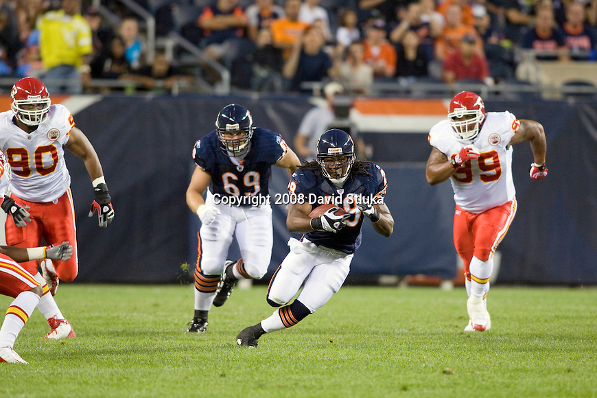 CHICAGO - AUGUST 7: Running back Adrian Peterson #29 of the Chicago Bears carries the ball against the Kansas City Chiefs at Soldier Field on August 7, 2008 in Chicago, Illinois. The Chiefs defeated the Bears 24-20. (AP Photo/David Stluka)