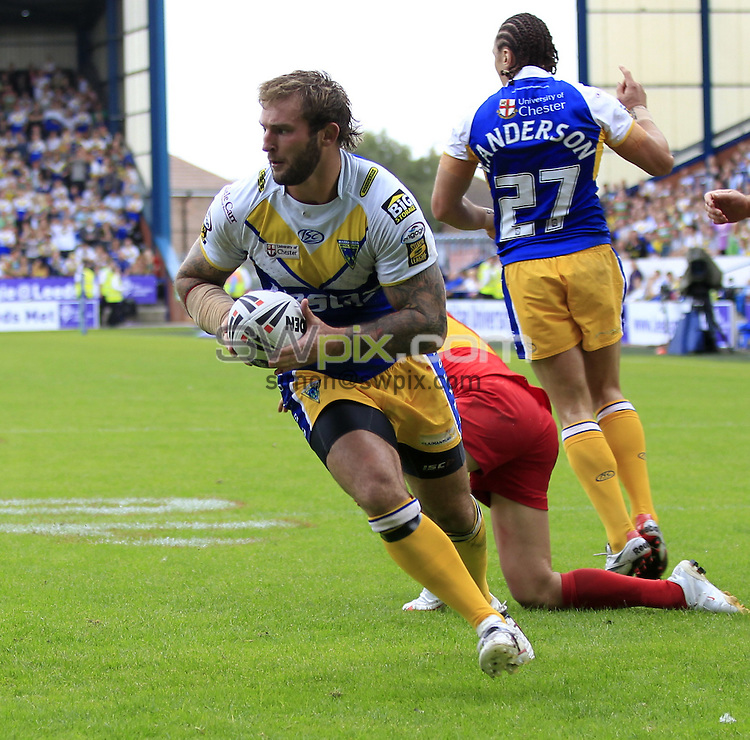 Pix: Chris Mangnall /SWpix.com, Rugby League, Carnegie Challenge Cup Semmi-Final 08/08/10 Warrington Wolves v Catalans Dragons....picture copyright>>Simon Wilkinson>>07811267 706>>....Warrington's (16) Paul Wood runs in to score a try
