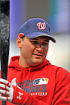 29 March 2008: Washington Nationals' third baseman Ryan Zimmerman warms up prior to an exhibition game against the Baltimore Orioles at Nationals Park, in Washington, DC. The matchup was the first professional game played in the new ballpark, prior to the upcoming official opening day inaugural game. The Nationals defeated the Orioles 3-0...Mandatory Photo Credit: Ed Wolfstein Photo