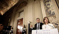 Luigi Gaetti (R) and and Giulia Grillo, representatives of the Five Star Movement (M5S) attend a press point at the end of their consultations with Italian President Sergio Mattarella at the Quirinale Palace, on December 10, 2016.<br /> UPDATE IMAGES PRESS/IsabellaBonotto