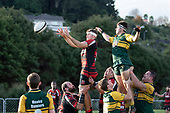 Dylan Leckner  takes lineout ball for Papakura. Counties Manukau Premier Club Rugby game between Pukekohe and Papakura, played at Colin Lawrie Fields Pukekohe on Saturday June 9th 2018. Pukekohe won the game 37 - 22 after leading 15 - 10 at halftime. <br /> Photo by Richard Spranger.