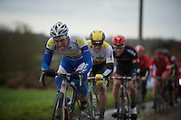 Stijn Steels (BEL/Topsport Vlaanderen-Baloise) biting his way through the foul weather and hard racing<br />