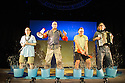 London, UK. 03.07.2013. WE'RE GOING ON A BEAR HUNT, based on the book by Michael Rosen, opens at the Lyric, Shaftesbury Avenue. Cast are: Duncan Foster (Dad), Rowena Lennon (Daughter), Gareth Warren (Son), and Ben Harrison (Dog). Photograph © Jane Hobson.