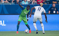 Carson, CA - Saturday July 29, 2017: Nouhou Tolo, Gyasi Zardes during a Major League Soccer (MLS) game between the Los Angeles Galaxy and the Seattle Sounders FC at StubHub Center.
