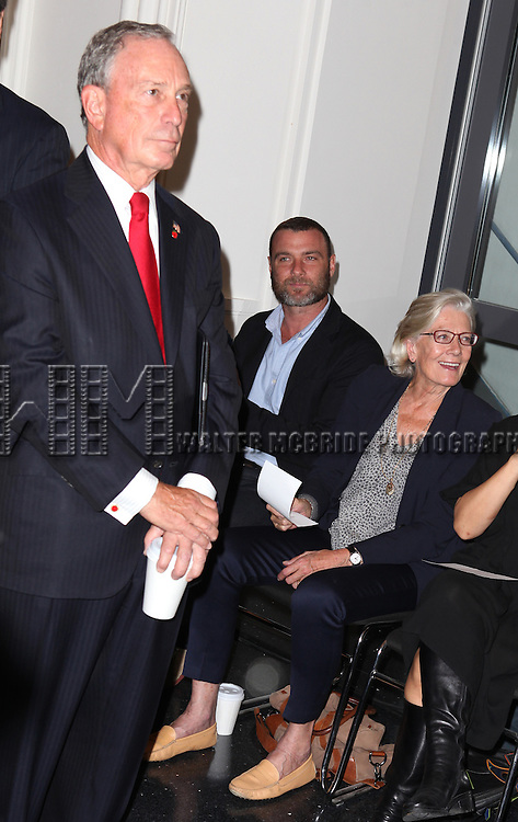 Mayor Michael Bloomberg, Liev Schreiber and Vanessa Redgrave attending the Unveiling of the Revitalized Public Theater at Astor Place in New York City on 10/4/2012.