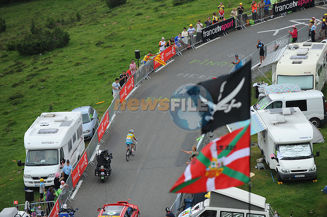 Race leader Vincenzo Nibali (ITA) Astana launches a solo attack on the slopes of Hautacam during Stage 18 of the 2014 Tour de France running 145.5km from Pau to Hautacam. 24th July 2014.<br /> Photo ASO/B.Bade/www.newsfile.ie