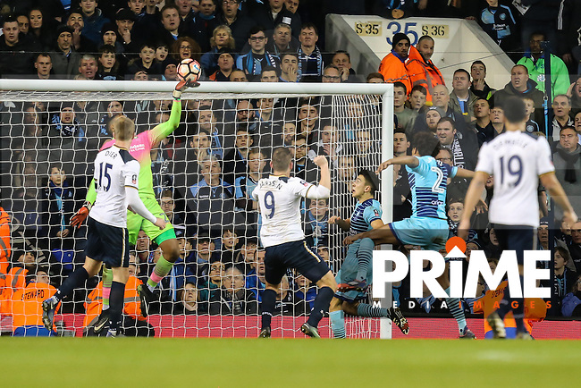 Goalkeeper Jamal Blackman of Wycombe Wanderers makes a save late on during the FA Cup 4th round match between Tottenham Hotspur and Wycombe Wanderers at White Hart Lane, London, England on 28 January 2017. Photo by PRiME Media Images / David Horn.