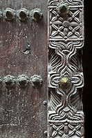 Zanzibar, Tanzania.  Detail on an Arab-style Doorway in Stone Town.