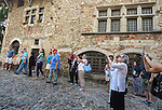 "VMI Vincentian Heritage Tour: Members of the Vincentian Mission Institute cohort tour the hilltop village of Pérouges on Tuesday, June 28, 2016, site of the classic film ""Monsieur Vincent"". (DePaul University/Jamie Moncrief)"