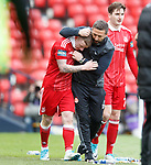 Derek McInnes celebrates the winning goal with Johnny Hayes