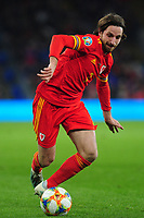 Joe Allen of Wales in action during the UEFA Euro 2020 Group E Qualifier match between Wales and Hungary at the Cardiff City Stadium in Cardiff, Wales, UK. Tuesday 19th November 2019