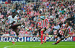 Arsenal's Emmanuel Adebayor shoots on goal. during the Premier League match at the Stadium of Light, Sunderland. Picture date 21st May 2008. Picture credit should read: Richard Lee/Sportimage