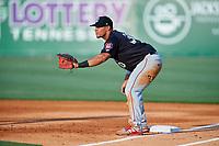 Chattanooga Lookouts first baseman Jonathan Rodriguez (30) during a game against the Jackson Generals on April 29, 2017 at The Ballpark at Jackson in Jackson, Tennessee.  Jackson defeated Chattanooga 7-4.  (Mike Janes/Four Seam Images)