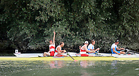 Ottensheim, AUSTRIA.  A  Final,  Men's coxed pair,  CAN M2+ takes the Gold, {bow, Gabreil BERGAN, James DUNAWAY and cox Mark LAIDLAW, celecbrate winning the Gold Medal, at the 2008 FISA Senior and Junior Rowing Championships,  Linz/Ottensheim. Sunday,  27/07/2008.  [Mandatory Credit: Peter SPURRIER, Intersport Images] Rowing Course: Linz/ Ottensheim, Austria