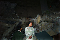 Tripoli, Libya, March 20, 2011.Khaddafi's complex at Bab al Azizia was targeted tonight by a cruise missile strike. It hit an apparently empty building without making any casualties, right next to the Leader's tent, as a probable psychological warning. A few dozens civilians have vowed to remain within the compound 'to protect Khaddafi's life with their own'.