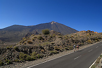 Hiking on the mountain roads, showing Mount Teide the highest mountain in Spain, Tenerife, Canary Islands,