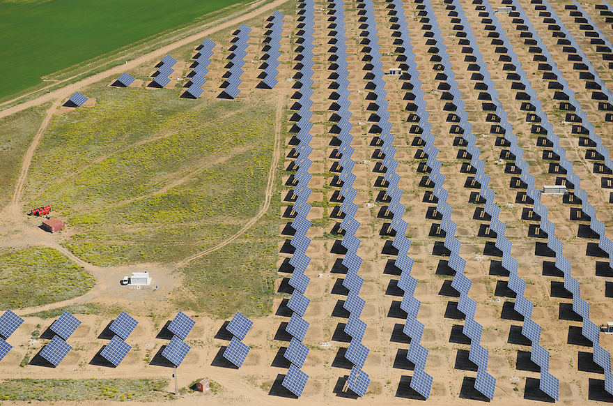Aerial image<br /> solar energy power station Salamanca Region, Castilla y Le&oacute;n, Spain