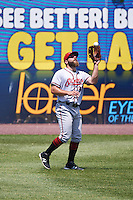 Richmond Flying Squirrels left fielder Tyler Horan (31) catches a fly ball during a game against the Binghamton Mets on June 26, 2016 at NYSEG Stadium in Binghamton, New York.  Binghamton defeated Richmond 7-2.  (Mike Janes/Four Seam Images)
