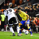 Valencia CF's Zahibo  and UD Las Palmas' David Simon during spanish King's Cup match. January 21, 2016. (ALTERPHOTOS/Javier Comos)