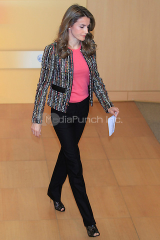 Princess Letizia attends the first international conference about New Forms of Violence at the Canal fundation audirorium in Madrid, Spain. 05.11.2013<br /> C. Kasady/insight media /MediaPunch Inc. ***FOR USA ONLY***