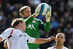 Robert Green of West Ham collects under pressure from Kevin Davies of Bolton during the Premier League match at the Reebok Stadium, Bolton. Picture date 12th April 2008. Picture credit should read: Simon Bellis/Sportimage